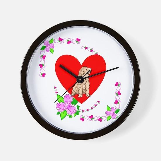 Shar Pei Love Wall Clock
