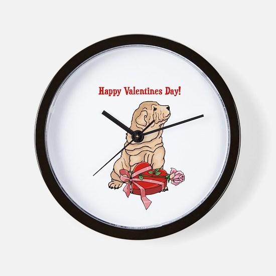 Happy Valentine's Day Shar Pei Wall Clock