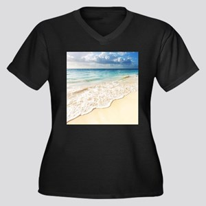 Beautiful Be Women's Plus Size V-Neck Dark T-Shirt