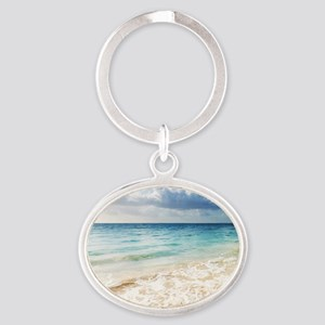 Beautiful Beach Oval Keychain