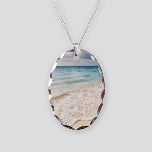 Beautiful Beach Necklace Oval Charm
