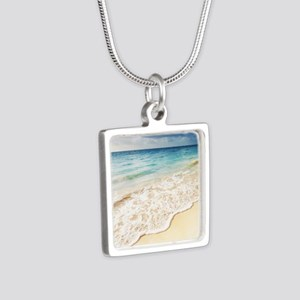 Beautiful Beach Silver Square Necklace
