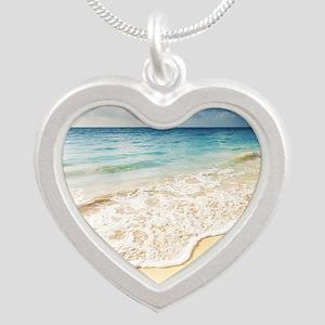 Beautiful Beach Silver Heart Necklace