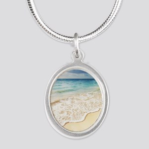 Beautiful Beach Silver Oval Necklace
