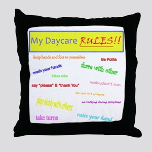 My Daycare Rules Throw Pillow