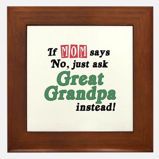 Just Ask Great Grandpa! Framed Tile