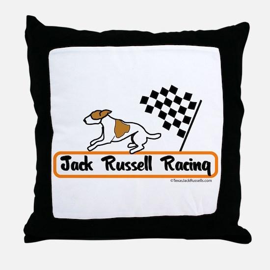 Jack Russell Racing Throw Pillow