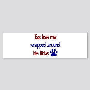 Taz Has Me Wrapped Around His Bumper Sticker