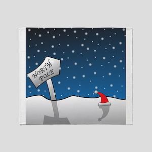 North Pole Signpost and Santa Hat Throw Blanket
