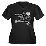 Biker Valent Women's Plus Size V-Neck Dark T-Shirt