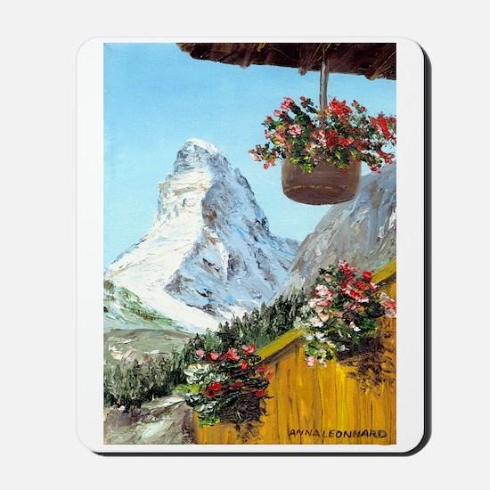 Matterhorn with flowers Mousepad