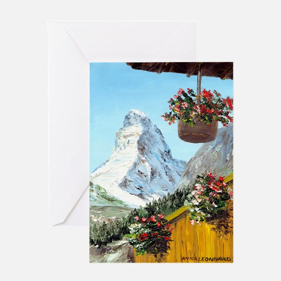 Matterhorn with flowers Greeting Card