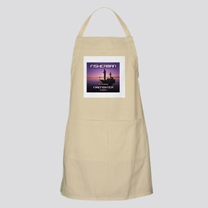 """""""Fisherman Playing Firefighter Today"""" BBQ Apron"""