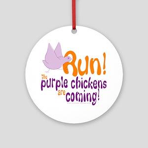 Purple Chickens Ornament (Round)