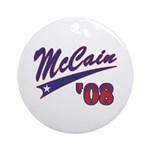 McCain '08 Swoosh Ornament (Round)