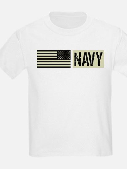 U.S. Navy: Military Black Backwards Flag T-Shirt