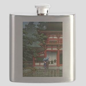 Japanese Classic Asia Temple Rain Asian Art Flask