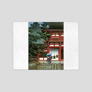 Japanese Classic Asia Temple Rain A 5'x7'Area Rug