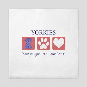 Yorkie Pawprints Queen Duvet