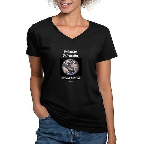 (OCUU$) World Citizen Women's V-Neck Dark T-Shirt