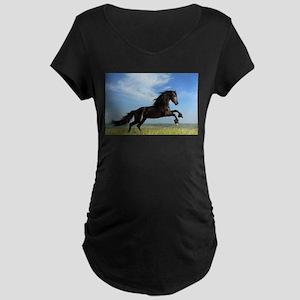 Black Horse Running Maternity T-Shirt