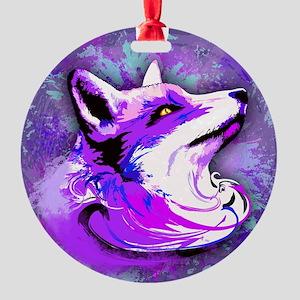 Purple Fox Spirit Round Ornament