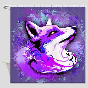 Purple Fox Spirit Shower Curtain