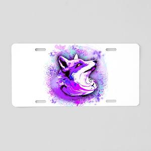 Purple Fox Spirit Aluminum License Plate