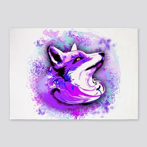 Purple Fox Spirit 5'x7'Area Rug
