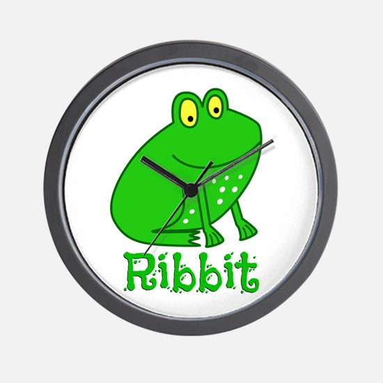 GREEN FROG RIBBIT Wall Clock