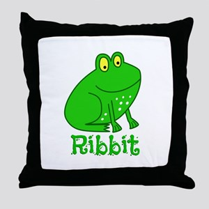 GREEN FROG RIBBIT Throw Pillow