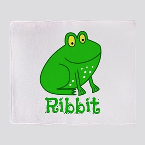 GREEN FROG RIBBIT Throw Blanket