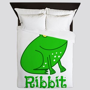 GREEN FROG RIBBIT Queen Duvet