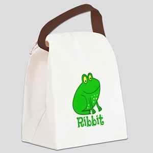 GREEN FROG RIBBIT Canvas Lunch Bag