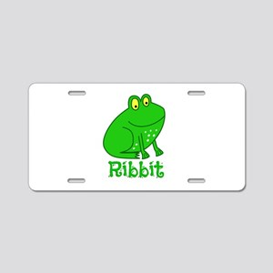 GREEN FROG RIBBIT Aluminum License Plate