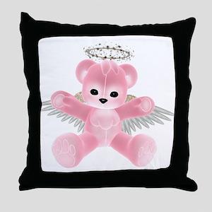 PINK ANGEL BEAR Throw Pillow
