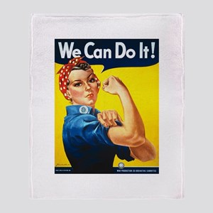Rosie The Riveter-We Can Do It! Throw Blanket