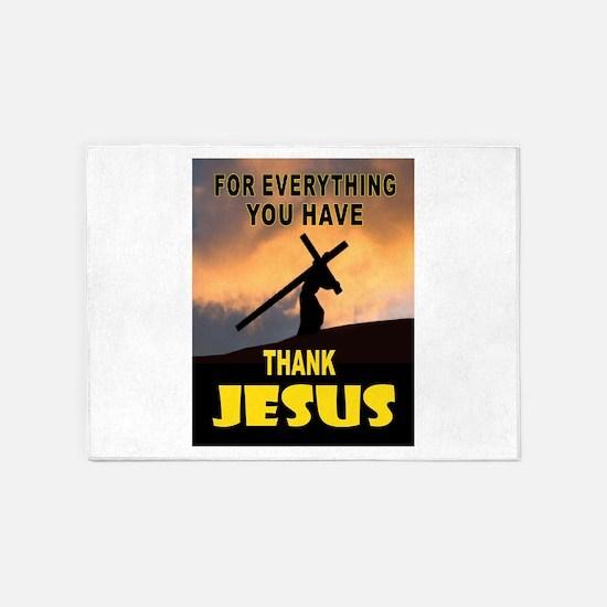 THANK YOU JESUS 5'x7'Area Rug