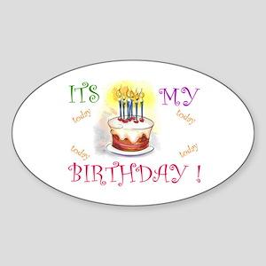 Its My Birthday! Oval Sticker