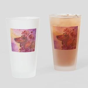 Aloha - Dachshund wearing lei Drinking Glass