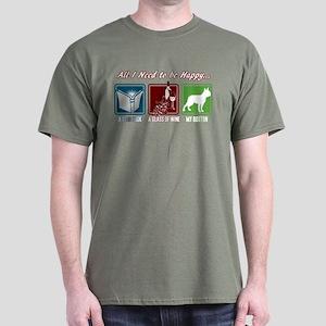 Book, Wine, Boston Terrier Dark T-Shirt