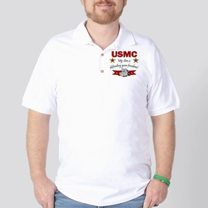 USMC Son defending freedom Golf Shirt