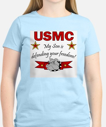 USMC Son defending freedom Women's Pink T-Shirt