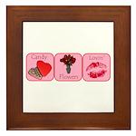 Candy, Flowers, Lovin Framed Tile