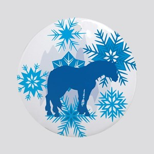 Clydesdale Snowflakes Holiday Ornament (Round)