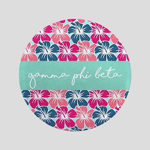 "Gamma Phi Beta Flowers 3.5"" Button"