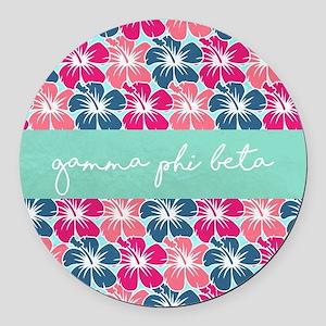 Gamma Phi Beta Flowers Round Car Magnet