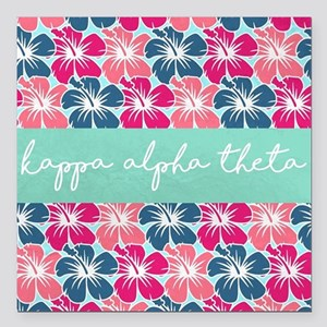 "Kappa Alpha Theta Flower Square Car Magnet 3"" x 3"""