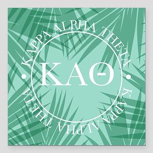 "Kappa Alpha Theta Leaves Square Car Magnet 3"" x 3"""