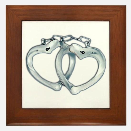 Handcuffed Hearts Framed Tile